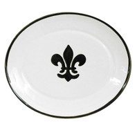 "15"" Thin Oval Platter in Black Fleur De Lis"