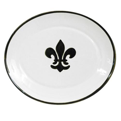 """15"""" Thin Oval Platter in Black Fleur De Lis"""