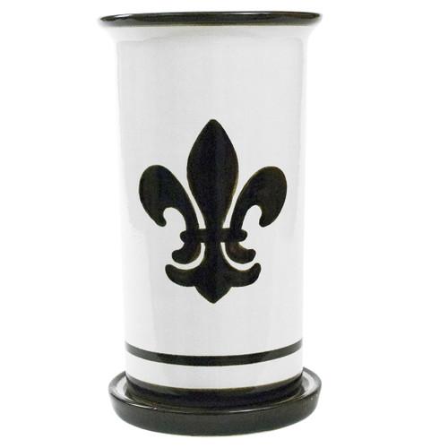 "10.5"" Wine Cooler & Saucer in Black Fleur de Lis"
