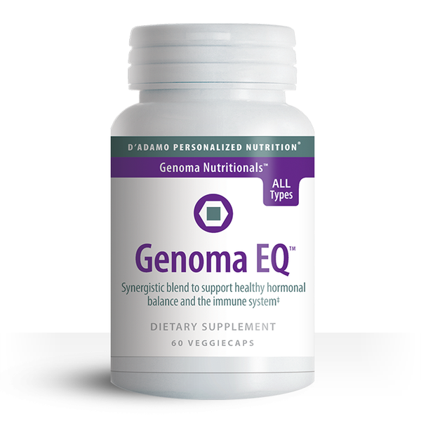 Genoma EQ is a synergistic blend of herbs and nutrients formulated by Dr. Peter D'Adamo to support healthy hormonal balance and the immune system.