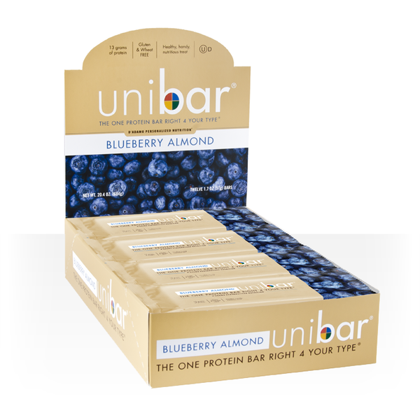 The Blueberry Almond Unibar offers 13 grams of blood-type friendly protein.