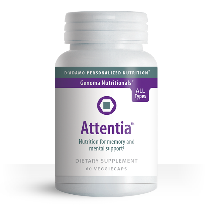 Dr. Peter J. D'Adamo formulated Attentia to help maintain healthy cognitive function in adults. Attentia is a blend of well-researched herbs such as Ginko and Ashwagandha.