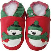 shoeszoo snowman red 0-6m S new soft sole leather baby shoes