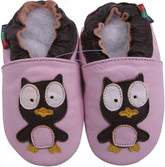 shoeszoo owl pink 0-6m S soft sole leather baby shoes