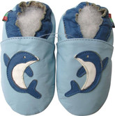 shoeszoo dolphin light blue 0-6m S new soft sole leather baby shoes