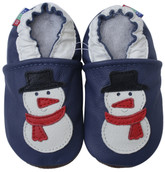 carozoo snowman blue 0-6m soft sole leather infant baby shoes