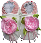 carozoo rose white 0-6m soft soled leather baby shoes