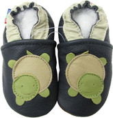 carozoo turtle dark blue 0-6m soft sole leather baby shoes