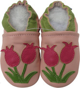 carozoo tulip pink 0-6m soft sole leather baby shoes