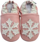carozoo snowflake pink 0-6m soft sole leather baby shoes
