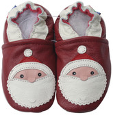 carozoo santa dark red 0-6m soft sole leather baby shoes