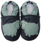 new soft sole leather baby shoes hippo black 0-6m