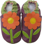 carozoo daisy purple 0-6m soft sole leather baby shoes