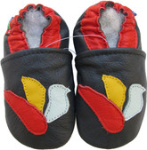 carozoo dove dark blue 6-12m soft sole leather baby shoes