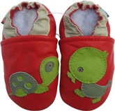 carozoo turtle duck red 0-6m soft sole leather baby shoes