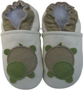 carozoo turtle cream 0-6m soft sole leather baby shoes