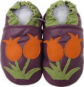 carozoo tulip purple 0-6m soft sole leather baby shoes