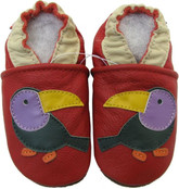 carozoo toucan red 6-12m soft sole leather baby shoes