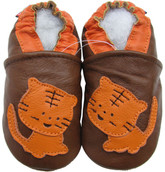 carozoo tiger brown 0-6m soft sole leather baby shoes