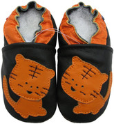 carozoo tiger black 0-6m soft sole leather infant baby shoes