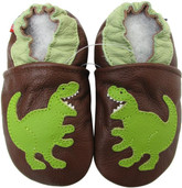 carozoo T-Rex brown 0-6m soft sole leather baby shoes
