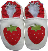 carozoo strawberry white 18-24m soft sole leather baby shoes