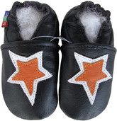 carozoo star black 0-6m soft sole leather infant baby shoes