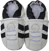carozoo sports dark blue stripe white 6-12m soft sole leather baby shoes