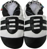 carozoo sports black white 0-6m sole leather infant baby shoes