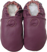 carozoo solid purple 6-12m soft sole leather baby shoes