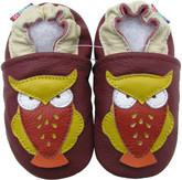 carozoo owl dark red 0-6m soft sole leather infant baby shoes