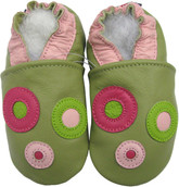 carozoo circle green 0-6m soft sole leather infant baby shoes