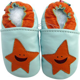 carozoo starfish light blue 0-6m soft sole leather baby shoes