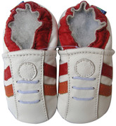 carozoo sports white red 0-6m C2 soft sole leather baby shoes