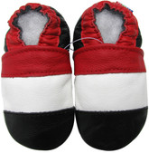 carozoo red white black 0-6m soft sole leather baby shoes