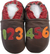 carozoo number dark brown 0-6m soft sole leather baby shoes