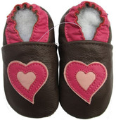 carozoo soft sole leather baby shoes hearts brown 0-6m