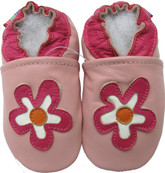carozoo flower pink 0-6m soft sole leather baby shoes
