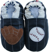 carozoo baseball blue 0-6m soft leather baby shoes