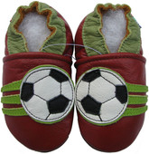 carozoo soccer dark red 0-6m soft sole leather baby shoes