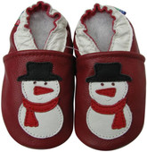 carozoo snowman dark red 0-6m soft sole leather baby shoes