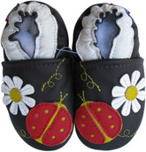 carozoo ladybug flower dark brown 0-6m soft sole leather infant baby shoes