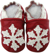 carozoo snowflake dark red 12-18m soft sole leather baby shoes