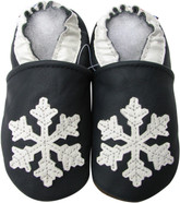 carozoo snowflake dark blue 0-6m new soft sole leather baby shoes
