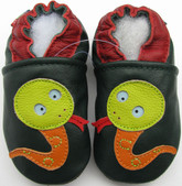 carozoo snake dark green 6-12m soft sole leather baby shoes