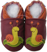carozoo snail dark red 0-6m new soft sole leather baby shoes