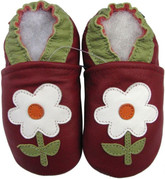 carozoo small flower red 0-6m soft sole leather baby shoes
