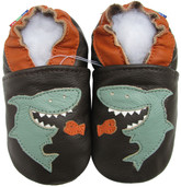 carozoo shark dark brown 0-6m soft sole leather infant baby shoes