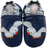 carozoo seagull blue 6-12m soft sole leather baby shoes
