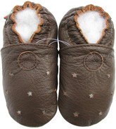 carozoo sandals stars brown 6-12m soft sole leather baby shoes